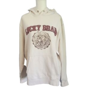 Lucky Brand Cream Vintage Inspired Hoodie